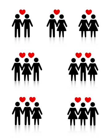 Clipart collection representing human love / sexual relationships Vectores