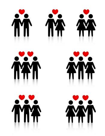 Illustraties collectie die de menselijke liefde  seksuele relaties Stock Illustratie