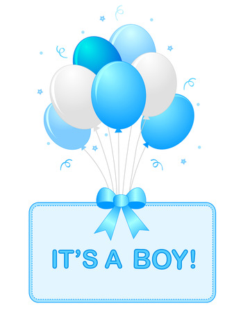 Cute baby boy arrival card text with blue and white balloons isolated on white background. it's a boy card