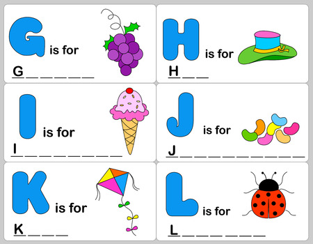 filling material: Kids words learning game  worksheets with simple colorful graphics and fill the blanks words.
