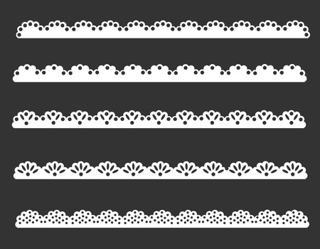 Illustration of beautiful lace pattern divider / frame set Vectores