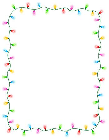 Colorful glowing christmas lights border / frame. Colorful holiday lights illustration Illustration