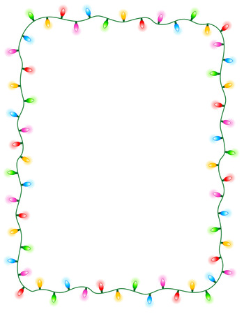 Colorful glowing christmas lights border / frame. Colorful holiday lights illustration Vettoriali