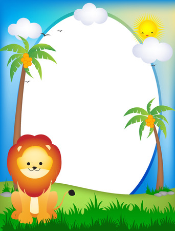 Illustration of lion in sunny countryside with coconut palm trees, white background with copy space. Vector