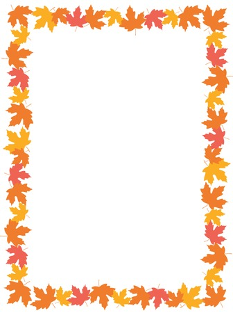 Autumn frame with colorful maple leaves on whte background Vectores