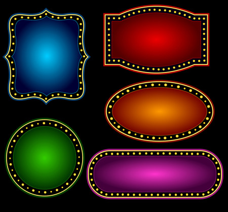 specially: Elegant Glowing Retro Theater Marquee border  frame with shiny bulbs background collection specially for advertising  billboard projects