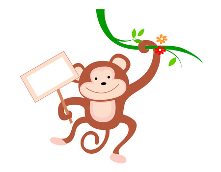 anthropoid: Cute little monkey hanging from a branch with notice board illustration isolated on white background