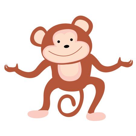 anthropoid: Cute little monkey illustration isolated on white background