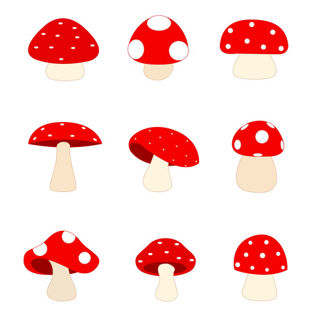 spore: Illustration of a group of different shaped red mushrooms isolated on white Illustration