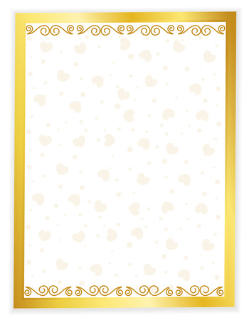 Gold framed wedding invitation background with hearts seamless pattern on center