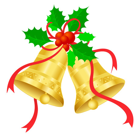 to chime: Golden Christmas Bells with red ribbon and holly and berries isolated on white background. illustration Illustration