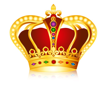 crown logo: Elegant gold crown with colorful glowing jems , diamonds and pearls  beads illustration isolated on white background.