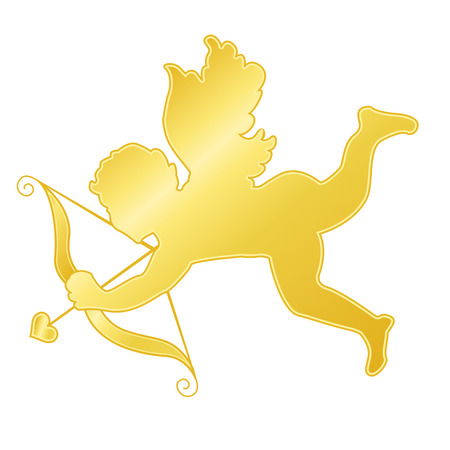 Ilustration of a golden cupid isolated on white background Illustration