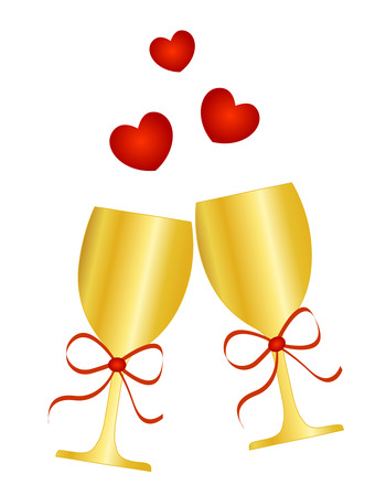 clip art wine: Illustration of golden glasses with champagne  wine with a red ribbon bow and hearts isolated on white background