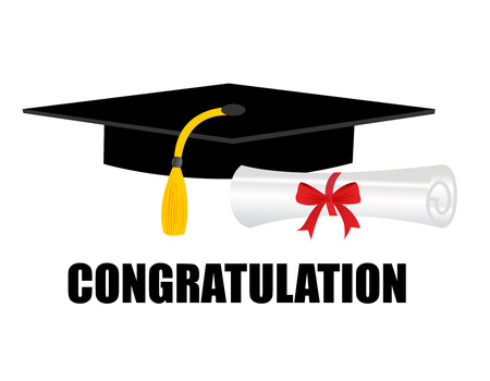 achievement clip art: Illustration of a diploma and mortarboard cap symbolizing graduation. and congratulations text on bottom