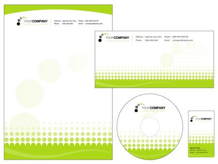 Conjunto de elementos de identidad corporativa, fácil de personalizar CD sobres con membrete, cubierta de DVD y tarjetas de visita Ilustración de vector