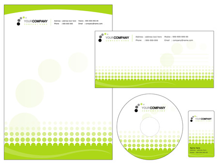 Set of corporate identity items, easy to customize letterhead envelope CD, DVD cover and business cards Ilustracja