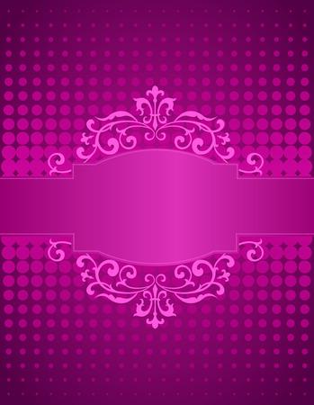 aniversario de bodas: Púrpura rosada puntos de semitono fondo  y cinta decorativa y el marco