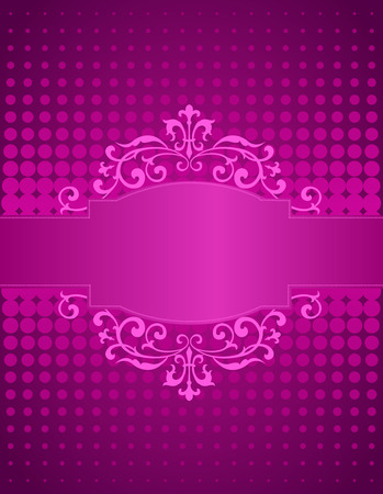 wedding decoration: Purple  pink halftone dots background and decorative ribbon and frame