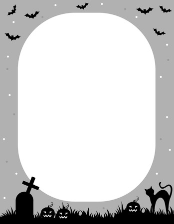 graves: Illustration of a gray and black Halloween frame with bats, graves and a cat