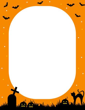 Illustration of orange and black halloween frame  border