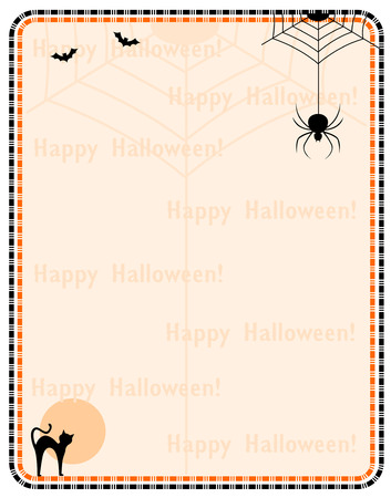 hallowen: Hallowen background  framewith happy halloween text and halloween themed cliparts