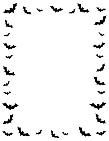 Silhouettes of flying bats halloween frame on white background