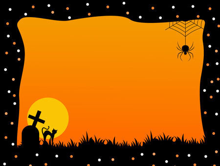 Illustration of a orange and black Halloween frame with spider, graves and a cat Illustration