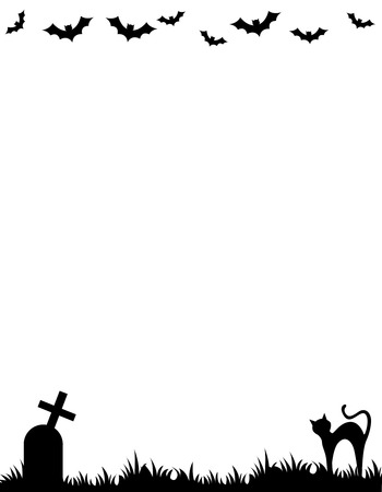 grass border: Halloween background  frame with silhouettes of bats , cat and tomb stone Illustration