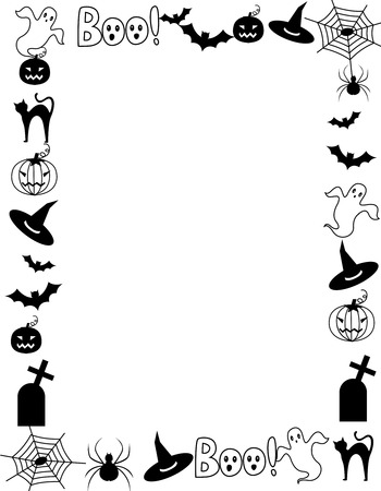 hallowen: Black and white hallowen frame with various halloween themed cliparts  silhouettes Illustration