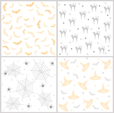 specially: Halloween seamless pattern  background with ghosts and polka dots. Specially for Halloween themed web sites and greeting cards Illustration