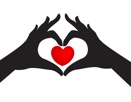 Pair of silhouetted hands around a red love heart on a white studio background.