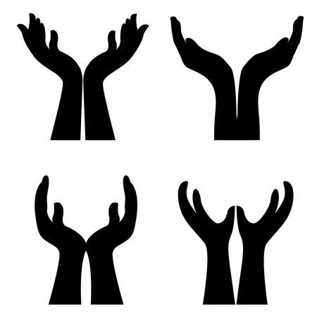 manos orando: Colección de cuatro diferentes en forma abierta manos ilustración aislado sobre fondo blanco