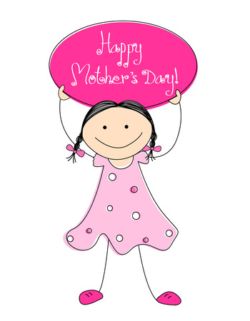mother board: Cute little kid [girl] holding a board with happy mothers day text. Mothers day greeting card Illustration