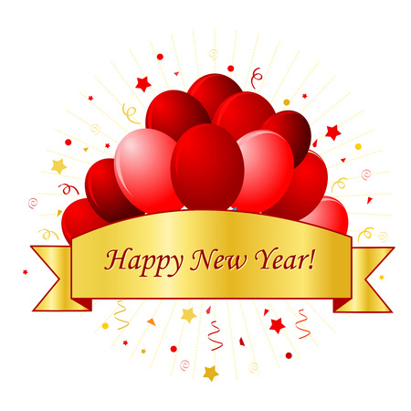 happy new year banner: New year greeting with red balloons confetti and gold ribbon banner with happy new year text