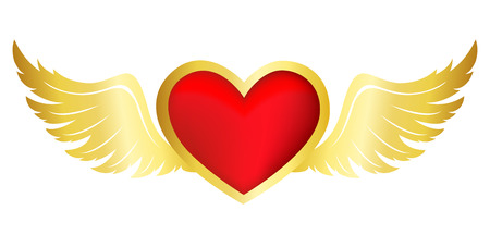 golden religious symbols: Bright red flying heart with golod wings clipart isolated on white background