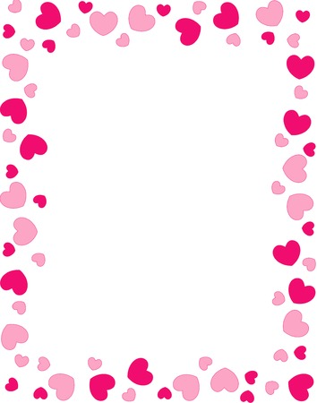 Pink and red heart frame on white background
