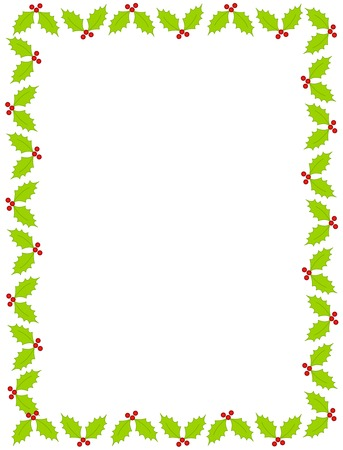 Colorful christmas border  frame with holly and berries