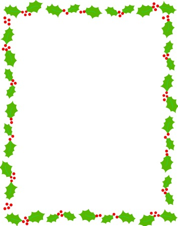 Simple holly and red berries christmas frame on white background