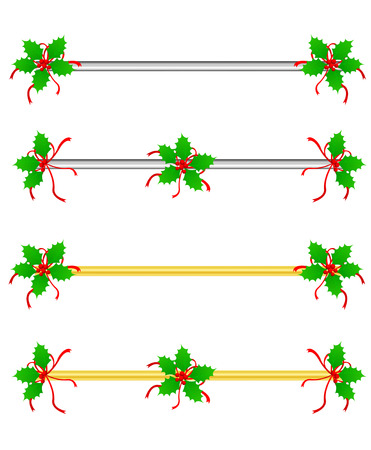 Clean Holly leaves and berries Christmasholiday border divider with silver and gold bars Vector