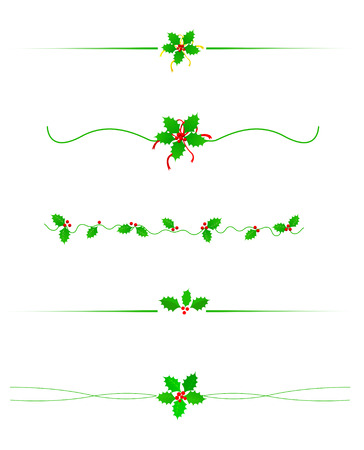 Clean Holly leaves and berries Christmas/holiday border /divider collection isolated on white
