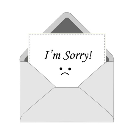 I am sorry note with an enveloe and sad face Stock Illustratie