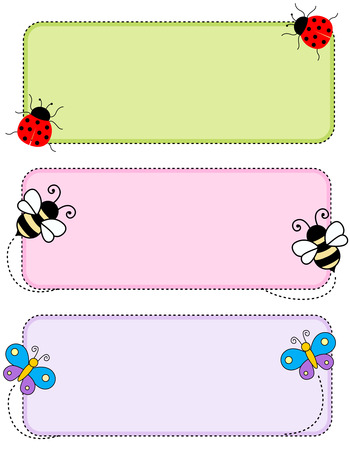 animal frame: Colorful kids name tags labels  with cute animal faces on corners