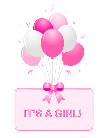 Cute baby girl arrival card text with pink and white balloons isolated on white background. it's a girl card