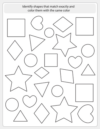 color match: Kids worksheet with shapes to match and color same shape Illustration