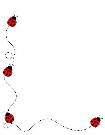 흰색 배경에 귀여운 무당 벌레 측면 테두리  프레임