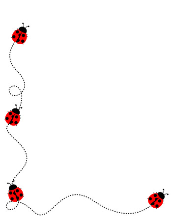 Cute ladybug side border  frame on white background