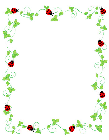 Cute ladybugs on green ivy frame / border isolated on white background Illustration