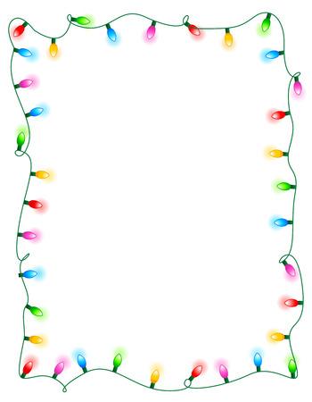 다채로운 빛나는 크리스마스 조명 테두리  프레임. 화려한 휴가 조명 그림 일러스트