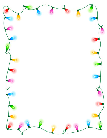 Colorful glowing christmas lights border / frame. Colorful holiday lights illustration Ilustração